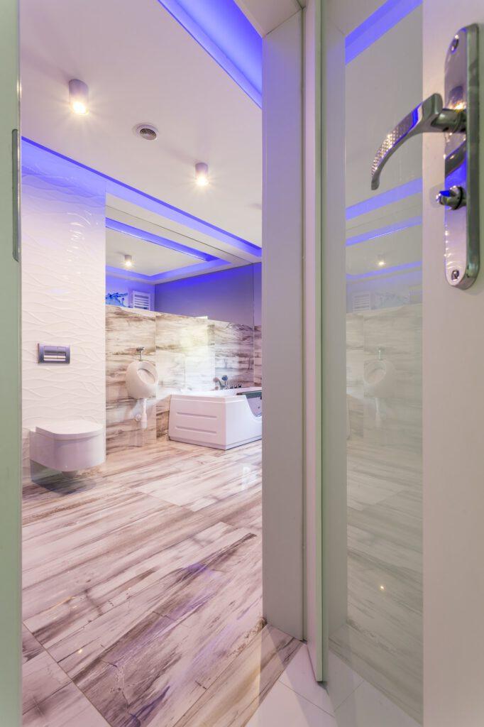 Modern and bright bathroom interior